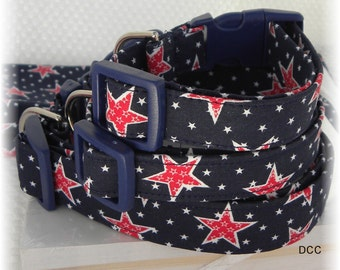 Dog Collar Patriotic Navy Blue w Red Star Mini White Stars Choose Size Size Adjustable Collars with D Ring Accessories Pet Pets 4th of July