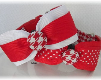 Dog Collar Houndstooth Red White w Ribbon Bow Tie  Red and white or Red with red dots Adjustable Dog Collars D Ring Choose Size Accessory