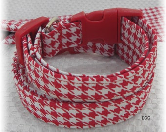 Dog Collar Houndstooth Red White Choose Fabric Classic NO BOW Adjustable Dogs Collars D Ring Choose Accessories Pet Pets PlaidSize Jester