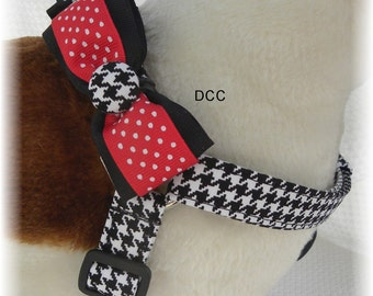 Dog Harness w Bow Ties for the Boys Custom Handmade STEP IN Ergonomically Correct Adjusts from Opposite Ends Comfortable  Choose Size Boy