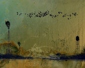 RESERVED for Jessica - Theories of Flight - Blackbirds - 12 x 18 - Rural Landscape - Encaustic & Photographic Etching - Limited Edition