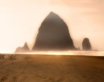 Sentinel - 8 x 10 Oregon Coast - Haystack Rock - Nature Theme - Beach Landscape - Golden Rose Sky - Limited Edition Print