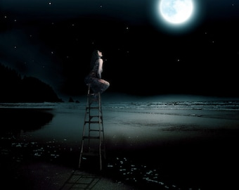 Closer -  8 x 10 Full Moon Over the Ocean - Surreal Beach Landscape - Night Sky - Limited Edition Print by My Antarctica