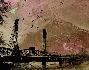 Theories of Flight  - Swallows  -  8 x 10 Encaustic Etched Portland City Bridge Limited Edition Print