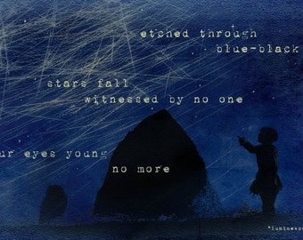 Luminescence - Poetry Broadside -  8 x 10 Night Ocean Landscape and Falling Stars - Limited Edition Print