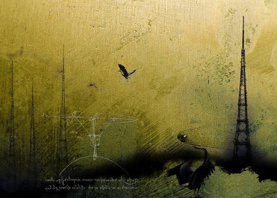 Theories of Flight  - Blue Herons  -  8 x 10 Wetlands Landscape - Encaustic and Photographic Etching - Limited Edition Print