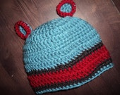 Boys Crochet Beanie, Bear Ears, cap  Hat- blue- espresso and red
