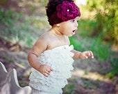 Chic boho Head Wrap with Jeweled Flower -brown and berry