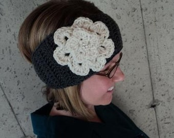 Ear Warmer with Jeweled Flower- Grey and Ivory
