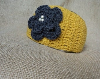 Crochet Ear Warmer, Head Wrap with Jeweled Flower- Mustard Yellow and Grey