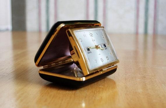 Elgin Vintage Compact Desktop Clock Black and Gold
