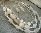 Swarovski Crystal, Pearl, Rose Quartz, Rainbow Fluorite,  Agate Necklace Earrings Set  Beaded Creamy Whites, Ivory, Opal Multi Strand Set