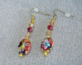 Earrings with Millifiori Glass, Ruby, Topaz and Champagne Crystals