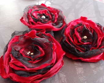 Black organza and red satin hair flower, hair accessory