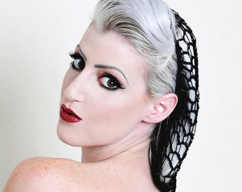 Black  Rockabilly Snood Hair Net