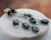 Snowflake Obsidian Earrings - Obsidian, Sterling Silver - Winter Fashion Black Grey Gift for Her