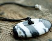 Zebra Jasper Pendant - Stone Pendant with Leather Cord - Black and White Boho Tribal Fall Fashion Natural Gemstone Jewelry