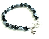 Black Stone Bracelet / Snowflake Obsidian Modern Jewelry Petite Toggle Clasp Silver Charm Gift For Her