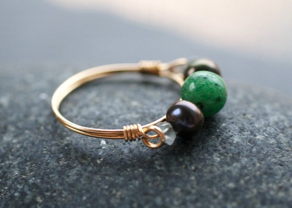 Gold Stone Ring - Ruby Zoisite and Freshwater Pearl - Forest Woodland Wire Wrapped Gold Artisan Gemstone Jewelry Fall Fashion