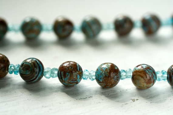 Teal Jasper and Apatite Necklace - Turquoise Blue Stone Boho Sky Nautical Summer - Custom For Rhonda