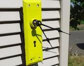 Yellow Skeleton Key Clock