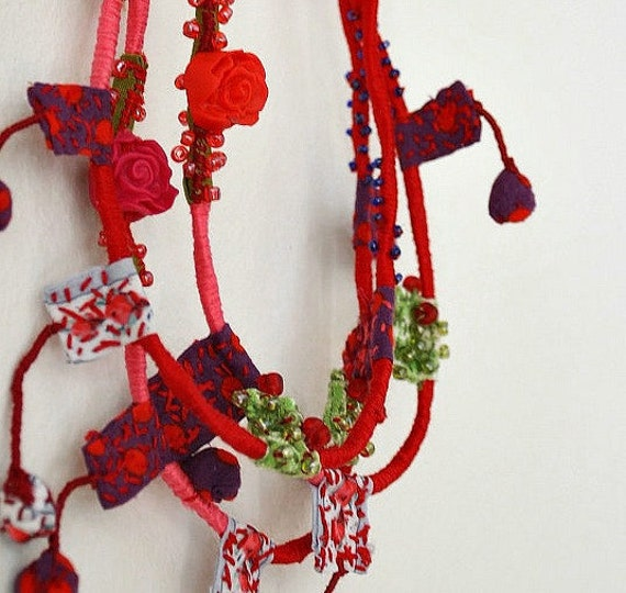 Flower Bib Necklace - Statement Hand Sewn Fabric Necklace - Pink Red  Accessories - Bridesmaid Colorful Jewelry - Eco Friendly Love Necklace