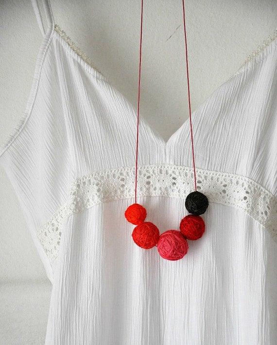 Red Bib Necklace - Statement Necklace - Textile Beaded Necklace - Long Strand Necklace - Bohemian Necklace - Atumn Fashion - Hippie Boho
