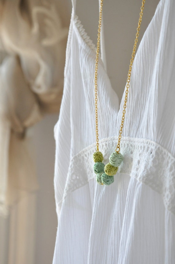 Mint Green Necklace - Statement Necklace -Nature Gold Necklace - Handmade Beads -   Autumn Fashion - Autumn Accessories