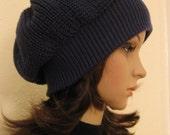 Slouchy Hat Beret Merino wool Sapphire
