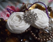 Bridal Rosette Headband Photo Prop - White Cotton With large Crystal Button for Wedding or Everyday