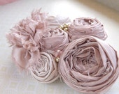 Rosette Fabric Flower Bridal Hair Clip Photo Prop, Vintage Inspired - Pale Pink Silk with Crystal Beads