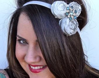 Adult Grey Headband, Rosette Trio Fabric Flower Bridal Headband Photo Prop, Grey and Ivory Silk and Antique Rhinestone Button