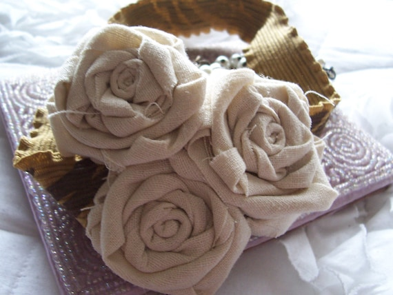 Adult Ecru Headband, Fabric Flower Rosette Headband Photo Prop For Girls to Adults - Cream With Pearls and Crystals on Golden Elastic