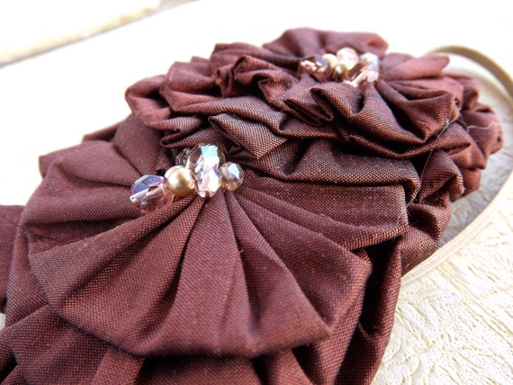 Rosette Headband Photo Prop - Woodland Maroon with Crystals and Glassy Pearls