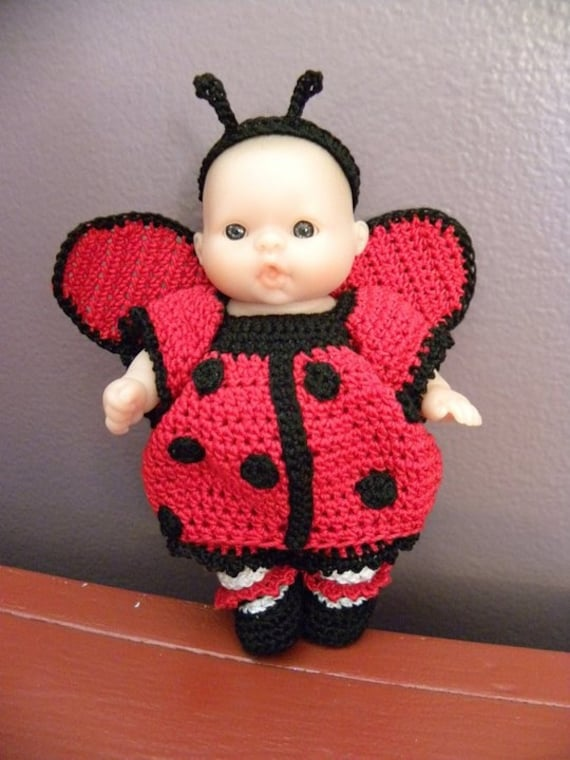 Abc Knitting Patterns Baby Booties : Items similar to 5 inch crochet doll clothes - ladybug costume pattern on Etsy