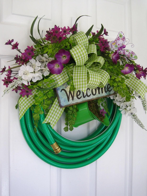Garden Hose Wreath Purple Flowers Welcome Sign Watering