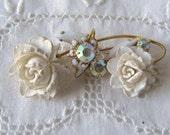 Vintage White Roses Milk Glass Rhinestone Brooch