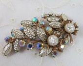 SALE Antique Brooch with Pearl and Rhinestones Large Fabulous Size Beautiful