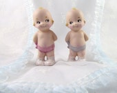 Kewpie Dolls Porcelain Handcrafted Twins Boy and Girl