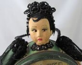 Doll Vintage Powder Can from New York with Antique Lace French Beads