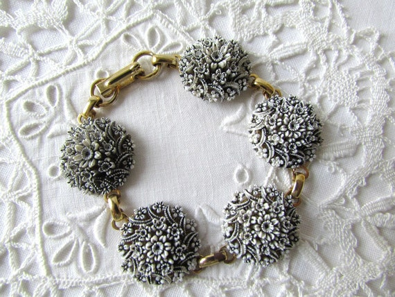 RESERVED 1950's Bracelet Black and White Flower Cabochons