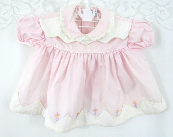 Vintage Baby Girls Dress Pink and Lace