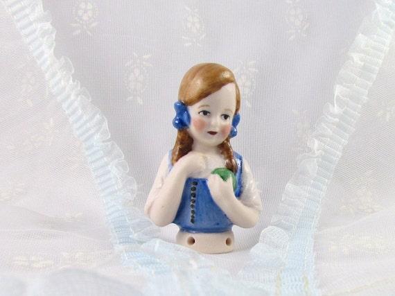 Half Doll Porcelain Handmade Girl with Ball