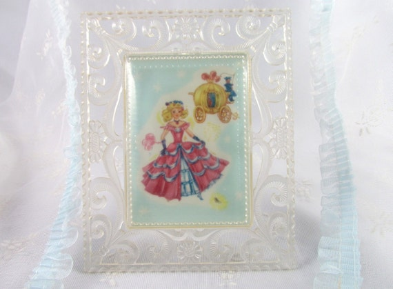 Cinderella Picture in  Fancy Frame Lucite Style Plastic Frame