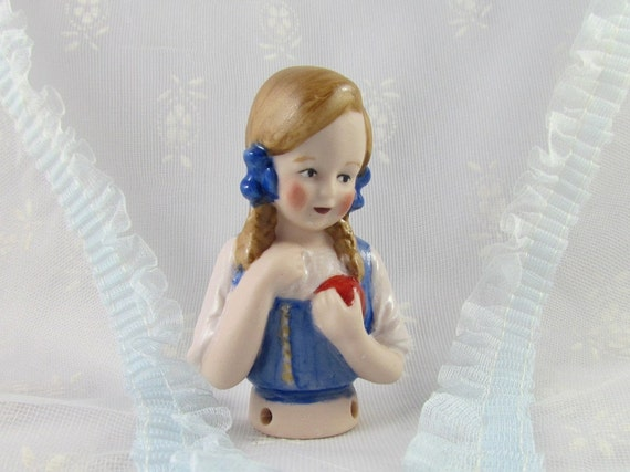 Pincushion Doll or Half Doll for Pincushion Child with Red Ball