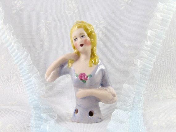 Half Doll or Pincushion Doll Lady in Blue Blond Hair