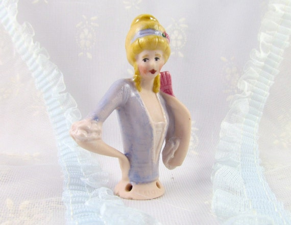 Half Doll Lady with Fan in Blue Antique Reproduction
