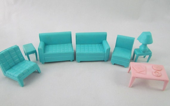 RESERVED Retro Dollhouse Furniture Living Room
