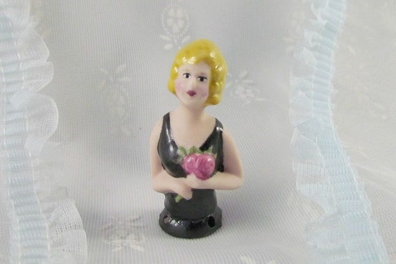 Half Doll Free Shipping Pin Cushion Doll Lovely Lady with Bouquet of Flowers
