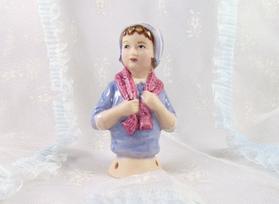 Halfdoll Porcelain Girl in Bonnet and Sweater